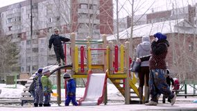Russia, Novosibirsk, 10 april 2015. Children playground in park in early spring. 4k. 3840x2160 stock video