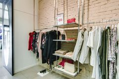 Russia, Novosibirsk - April 25, 2018: interior of women`s clothing and accessories store boutique EMPORIO royalty free stock image