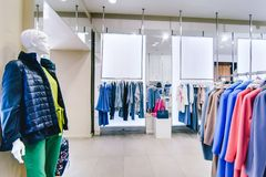 Russia, Novosibirsk - April 25, 2018: interior of women`s clothing and accessories store boutique EMPORIO stock photos