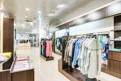 Russia, Novosibirsk - April 25, 2018: interior of women`s clothing and accessories store boutique EMPORIO royalty free stock photography