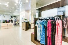 Russia, Novosibirsk - April 25, 2018: interior of women`s clothing and accessories store boutique EMPORIO stock photo