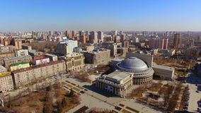 Russia, Novosibirsk - april 2019, Novosibirsk State Academic Theater of Opera and Ballet, Early spring aerial shoot.  stock video
