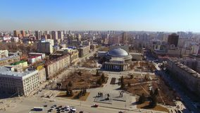 Russia, Novosibirsk - april 2019, Novosibirsk State Academic Theater of Opera and Ballet, Early spring aerial shoot.  stock video footage