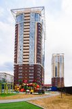Russia, Novosibirsk - May 03, 2018: Residential complex Gagarinsky. high-rise building exterior view from the street. High-rise building exterior view from the royalty free stock photos