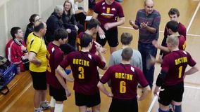 Russia, Novosibirsk. 21 october 2015. Coach says his team how to play the game in volleyball. Top of view. 1920x1080 stock video