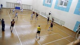 Russia, Novosibirsk. 21 october 2015. High School Volleyball game. Volleyball team playing in slowmotion. 1920x1080 stock video