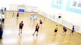 Russia, Novosibirsk. 21 october 2015. High School Volleyball game. Volleyball team plays. 4k stock video