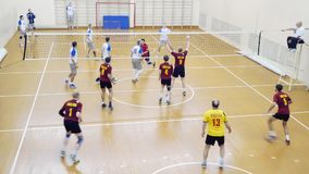 Russia, Novosibirsk. 21 october 2015. High School Volleyball game. Volleyball team plays. 1920x1080 stock video footage
