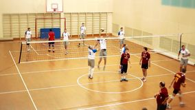 Russia, Novosibirsk. 21 october 2015. High School Volleyball game. Volleyball team train before the game. 1920x1080 stock footage