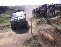Russia, Novosibirsk region, krasnozerskoye village, may 7, 2011, off-road racing competitions participants overcome a difficult stock photos