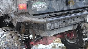 11. 10. 16, Russia, Novosibirsk, Salair Rubilovo. Big jeep in lumps of mud after the competition, HD stock video footage