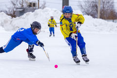RUSSIA, OBUKHOVO- FEBRUARY 19, 2016: 3-d stage of Children`s hockey League bandy, Russia. RUSSIA, OBUKHOVO- FEBRUARY 19, 2016: Third stage of Children`s hockey stock photography