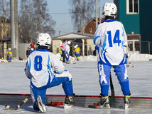 RUSSIA, OBUKHOVO - JANUARY 10, 2015: 2-nd stage children's hockey League bandy, Russia. Royalty Free Stock Photography