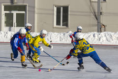 RUSSIA, OBUKHOVO - JANUARY 10, 2015: 2-nd stage children's hockey League bandy, Russia. Stock Images