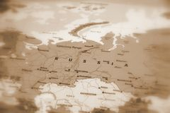 Russian Federation - Russia on a map. Russia, officially known as the Russian Federation sepia selective focus stock photo