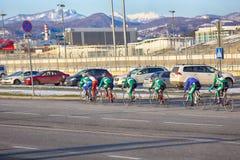 Bike training in spring on asphalt road. Russia, Olympic village - January 31, 2017: bike training in spring on asphalt road royalty free stock photography
