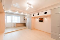 Russia, Omsk- August 02, 2019: interior room apartment. standard repair decoration in hostel. bright empty room unfurnished,