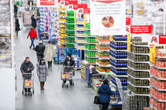 Russia, Omsk - January 22, 2015: Supermarket big store Royalty Free Stock Photos