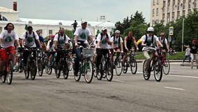 RUSSIA, OREL - 31 MAY 2014: Day of bicycle. Huge group of people are riding bicycle stock footage