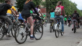 RUSSIA, OREL - 31 MAY 2014: Day of bicycle. Huge group of people are riding bicycle stock video footage