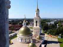 Russia orthodox architecture. Spaso-Preobrazhensky cathedral church and leaning belfry in Nevyansk, Sverdlovsk region. Spaso-Preobrazhensky cathedral church and Stock Image