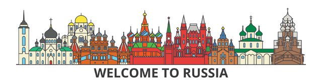 Russia outline skyline, russian flat thin line icons, landmarks, illustrations. Russia cityscape, russian travel city. Russia outline skyline, russian flat thin vector illustration