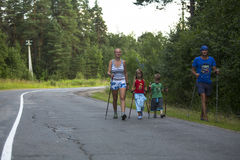 RUSSIA - Participants kids: Nikolay Dubinin /4, Darja Zhochkina /6) during of local competitions in Nordic walking Stock Photo