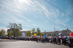 RUSSIA, PENZA - MAY 1: May Day demonstration Royalty Free Stock Images