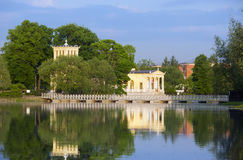 Russia, Peterhof (Petrodvorets). Olga's Pavilion on  island in Olga's pond Royalty Free Stock Photos