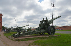 Russia Petersburg July 2016 three cannons outside the artillery Museum Royalty Free Stock Photo