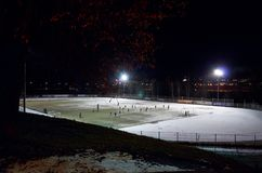 Russia. Petrozavodsk. Sports stadium in Petrozavodsk. November 15, 2017. Russia. Karelia. Petrozavodsk. Sports stadium in Petrozavodsk, night scene with lights Royalty Free Stock Image