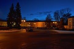 Russia. Petrozavodsk. Street Petrozavodsk at night. November 15, 2017. Russia. Karelia. Petrozavodsk. Street Petrozavodsk at night. The house, lit by the lights Royalty Free Stock Photography