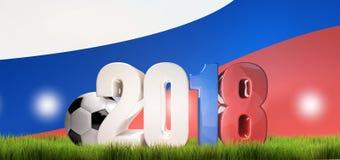 2018 Russia piłki nożnej rosyjski balowy futbol 3d odpłaca się Obraz Royalty Free