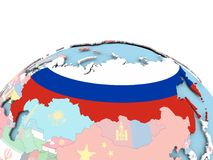 Flag of Russia on bright globe. Russia on political globe with embedded flags. 3D illustration Stock Image