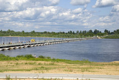 Russia. Pontoon-bridge on river Oka. Stock Images