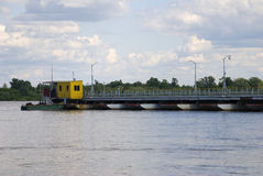 Russia. Pontoon-bridge on river Oka. Stock Image
