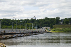 Russia. Pontoon-bridge on river Oka. Stock Photos