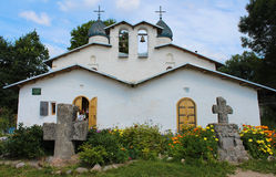 Russia. Pskov. The double church. The church of the Intercession and Nativity of the Most Holy Mother of God. It called often The Intercession Church at the Stock Photography