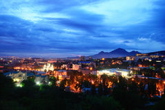 Russia. Pyatigorsk. View of the evening city and mount Mashtuk Royalty Free Stock Photos