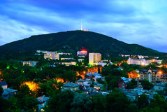 Russia. Pyatigorsk. View of the evening city and mount Mashtuk Stock Photography