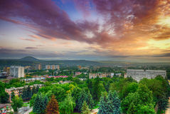 Russia. Pyatigorsk. View of the evening city and mount Mashtuk Stock Photo