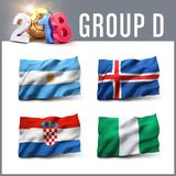 2018 soccer competition in Russia. Russia 2018 qualifying group D with team flags. International soccer competition. 3D illustration Royalty Free Stock Image