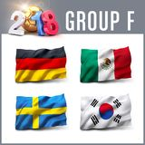 2018 soccer competition in Russia. Russia 2018 qualifying group F with team flags. International soccer competition. 3D illustration Stock Photos