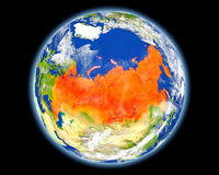 Russia in red from space Royalty Free Stock Photo