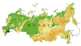 Russia relief map. Highly detailed physical map of Russia,in vector format,with all the relief forms,regions and big cities Stock Image
