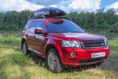Red SUV LAND ROVER FREELANDER 2 2. stock photo