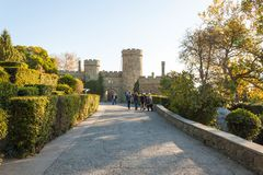 Russia, the Republic of Crimea, the city of Alupka 03 November 2018: Entrance to Vorontsov Palace. Beautiful panoramic view of. Russia, the Republic of Crimea stock photography