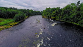 Russia, river Msta (Aerial Drone flights) stock footage
