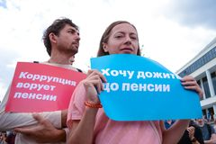 Russia Rostov on Don 9.9.2018. A crowd of protesters against raising the retirement age stock photography
