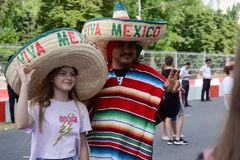 Russia Rostov-on-don 23 June 2018 fans March to the stadium Rostov arena for the match between Mexico and South Korea royalty free stock image